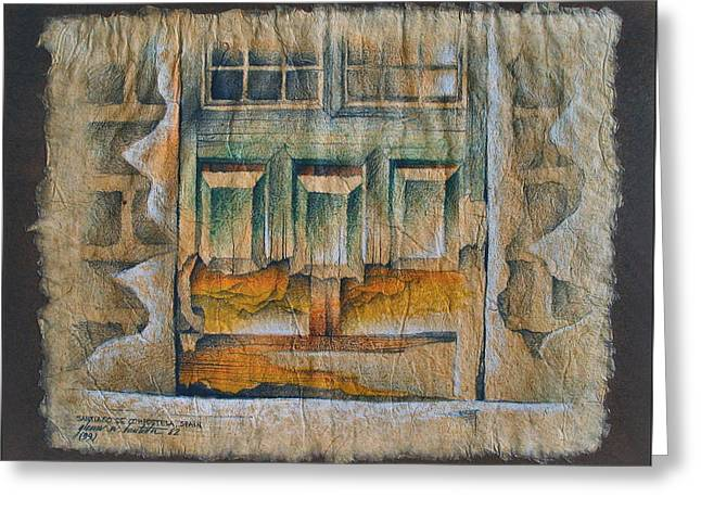 A Door In Compostela1982 Greeting Card by Glenn Bautista