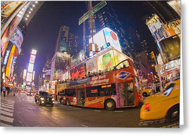 A Double Decker Bus On Broadway Greeting Card by Mike Theiss