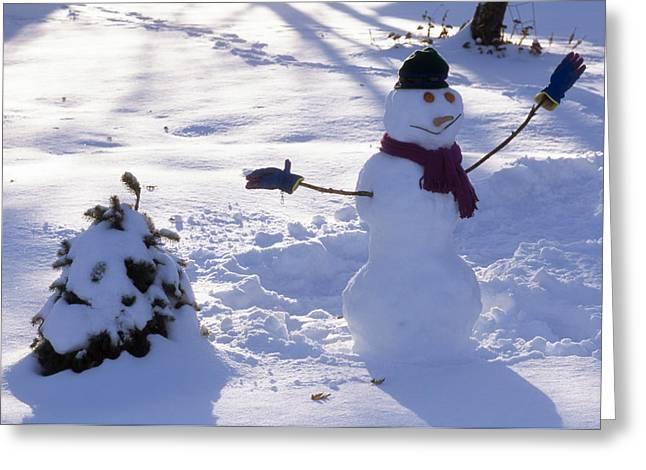 A Dressed Up Snowman Next To A Snow Greeting Card