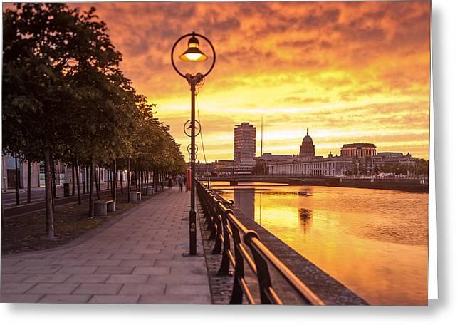 A Dublin Sunset Greeting Card by Brendan O Neill