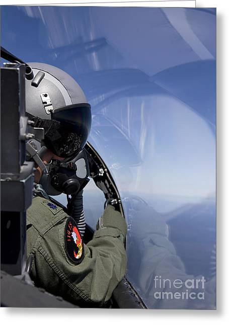 A F-15 Pilot Looks Over At His Wingman Greeting Card by HIGH-G Productions