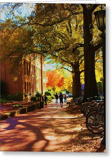 A Fall Day On Campus Greeting Card by Bob Whitt