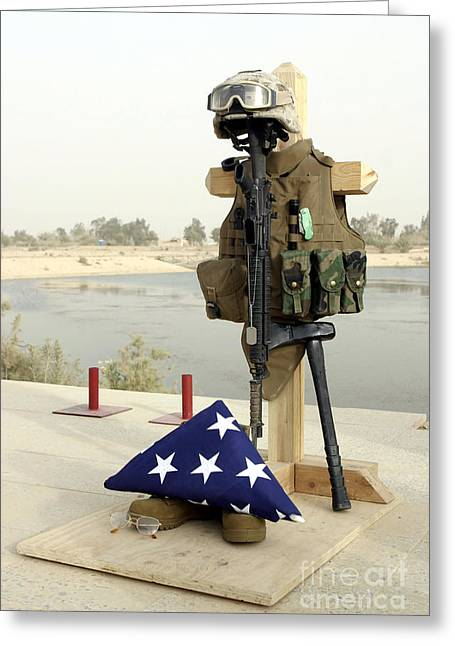 A Fallen Soldiers Gear Display Greeting Card by Stocktrek Images