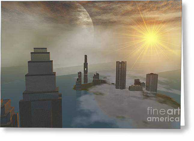 A Fantasy Science Fiction World Greeting Card by Corey Ford