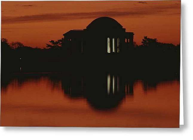 A Fiery Sunset Surrounds The Jefferson Greeting Card by Karen Kasmauski