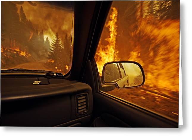 A Firefighter Supervisor Drives Greeting Card
