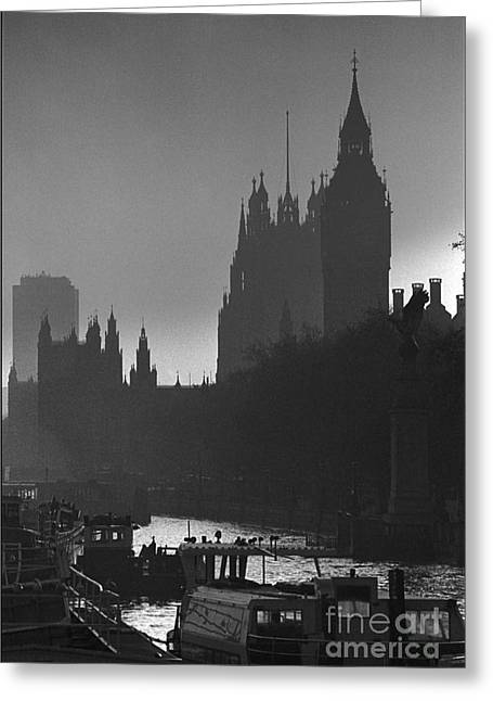 A Foggy Day In London Greeting Card by Aldo Cervato