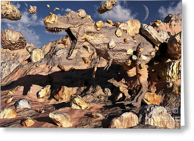 A Fossilized T. Rex Bursts To Life Greeting Card
