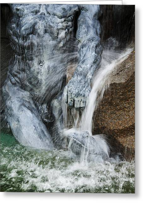 A Fountain With Flowing Water Jets Greeting Card