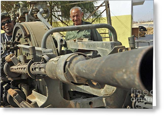 A Free Libyan Army Soldier Mans Greeting Card by Andrew Chittock