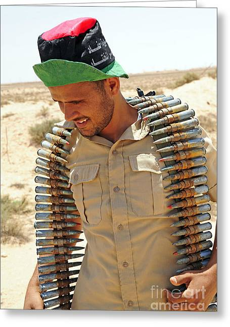 A Free Libyan Army Soldier With An Greeting Card by Andrew Chittock