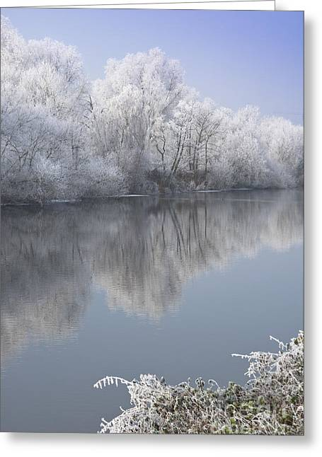 A Frosty River Severn Greeting Card by Andrew  Michael