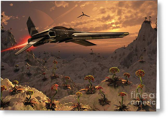 A Futuristic Earth Ship Patrolling Greeting Card