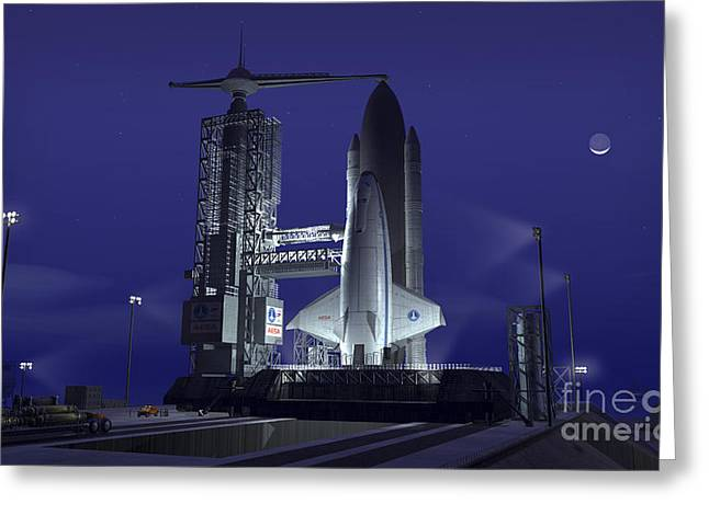 A Futuristic Space Shuttle Awaits Greeting Card by Walter Myers