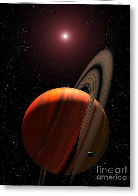 A Gas Giant Planet Orbiting A Red Dwarf Greeting Card by Stocktrek Images
