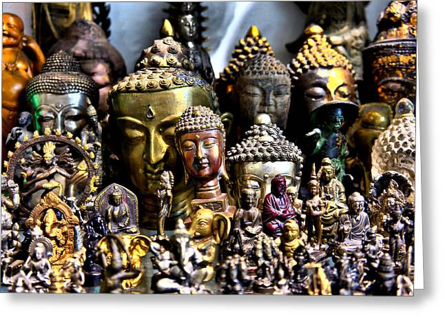 Greeting Card featuring the photograph A Gathering Of Buddhas by Edward Myers