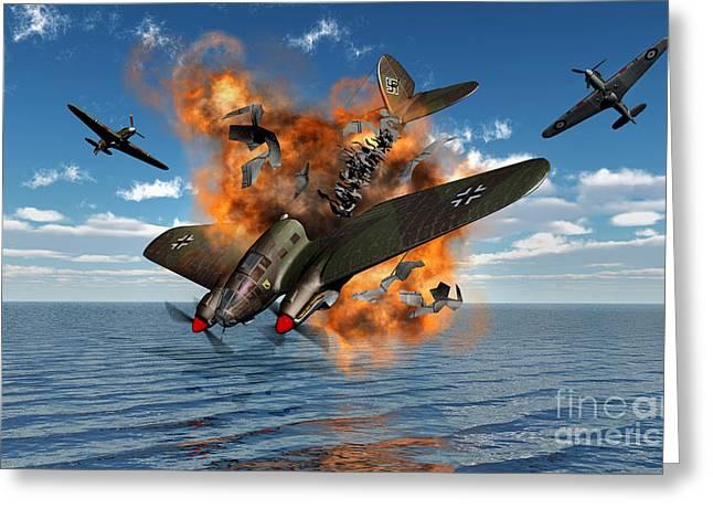 A German Heinkel Bomber Crashes Greeting Card by Mark Stevenson