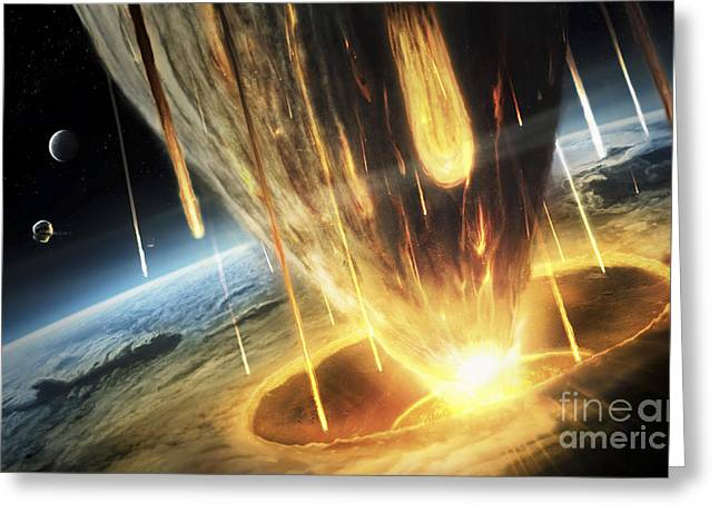 A Giant Asteroid Collides Greeting Card by Tobias Roetsch