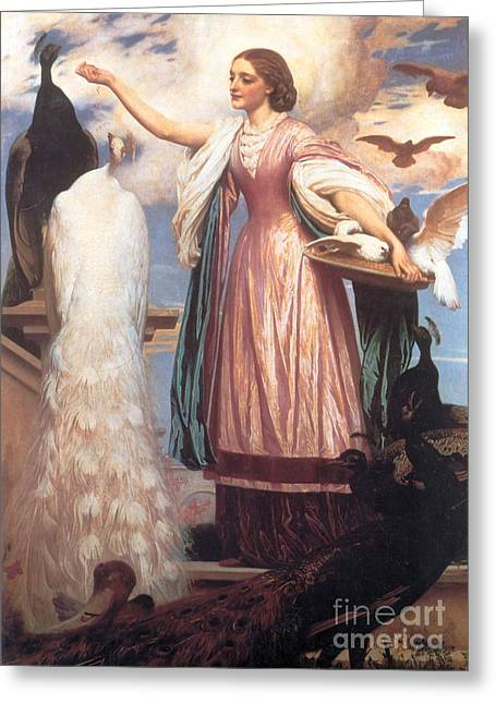 A Girl Feeding Peacocks Greeting Card by Frederic Leighton
