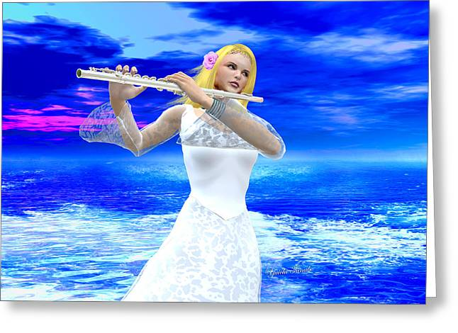 A Girl Playing Flute Greeting Card