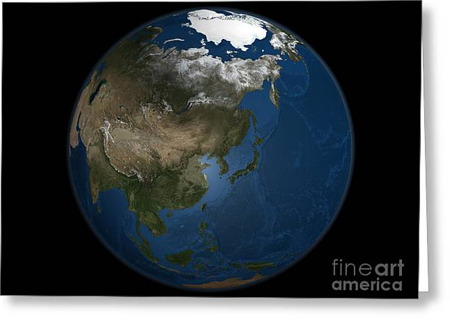A Global View Over Asia With Arctic Sea Greeting Card