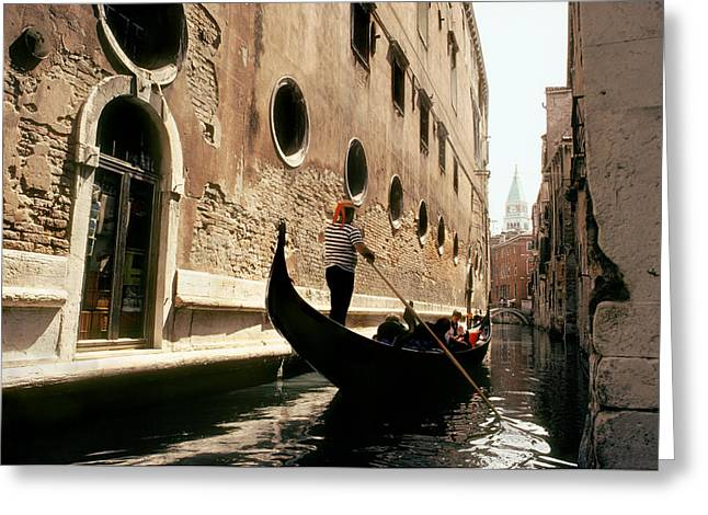 A Gondolier Poles Through The Canals Greeting Card