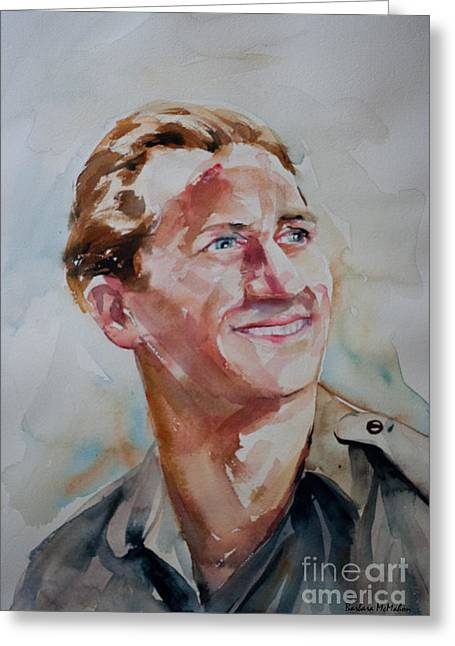 Greeting Card featuring the painting A Great Man by Barbara McMahon