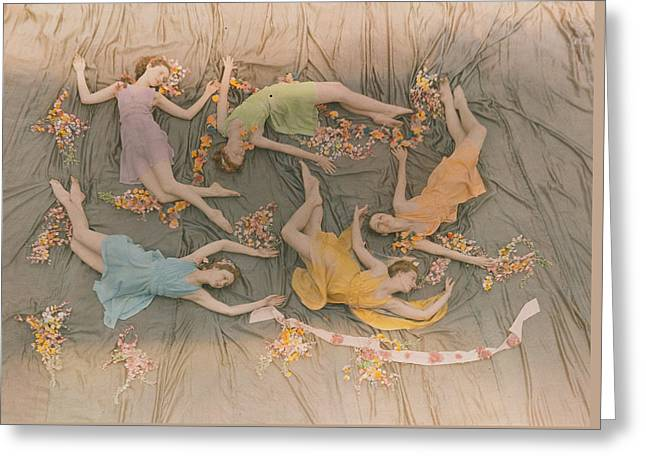 A Group Of Dancers Perform Greeting Card by J Baylor Roberts