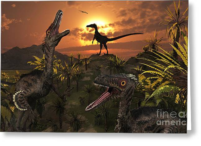 A Group Of Feathered Carnivorous Greeting Card by Mark Stevenson