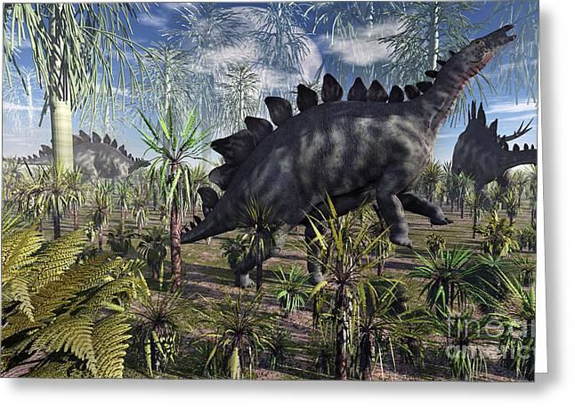 A Group Of Herbivore Stegosaurus Greeting Card