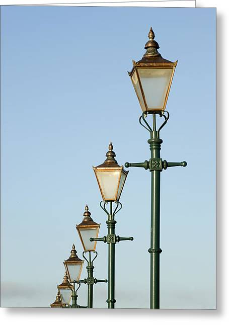 A Group Of Old Gas Street Lamps Greeting Card by Bill Hatcher