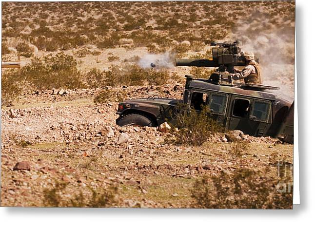 A Gunner Firing A Bgm-71 Tow Missile Greeting Card by Stocktrek Images
