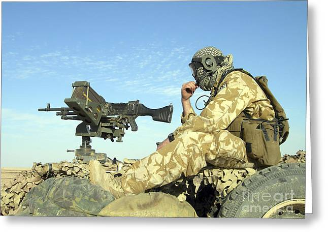 A Gunner Sits Atop A British Army Wmik Greeting Card by Andrew Chittock