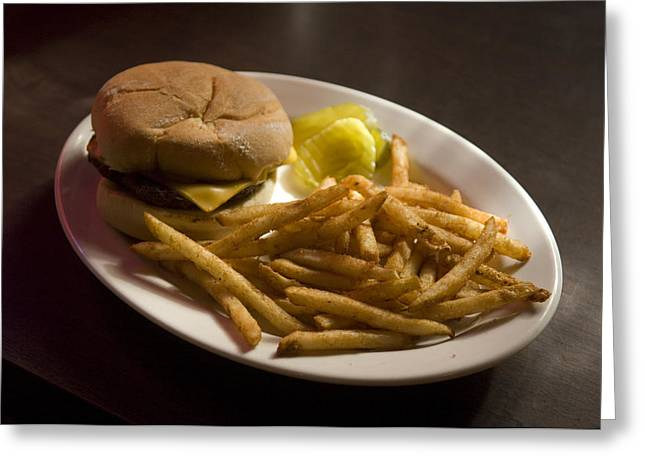 A Hamburger Lunch At A Restaurant Greeting Card