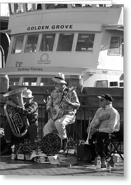 A Harbor Concert Greeting Card by Tia Anderson-Esguerra