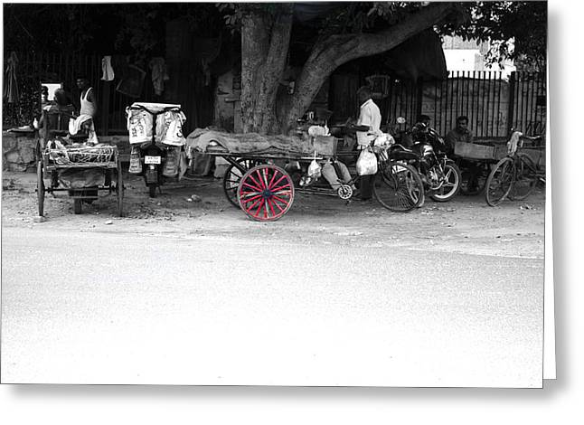 A Hawker On The Street Greeting Card by Sumit Mehndiratta