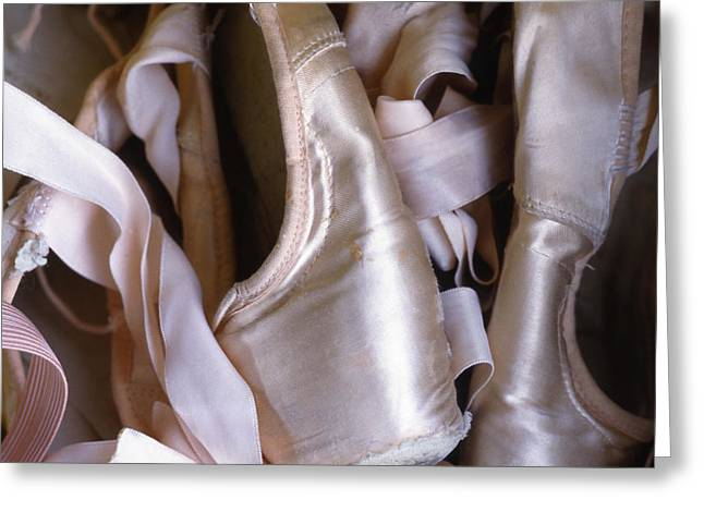 A Heap Of Ballet Shoes At Ballerina Greeting Card by Kate Thompson