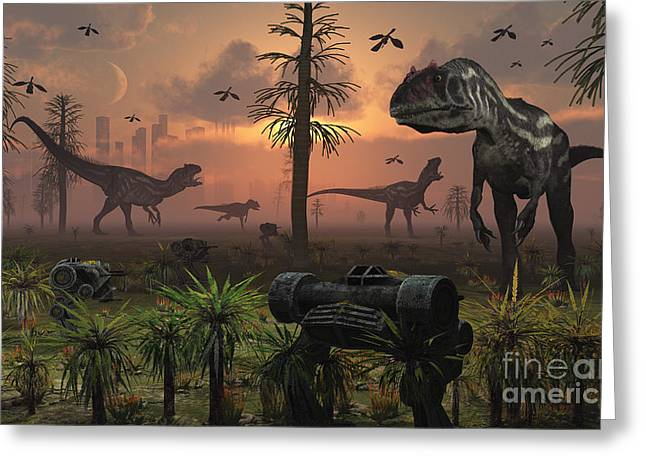 A Herd Of Allosaurus Dinosaur Cause Greeting Card by Mark Stevenson
