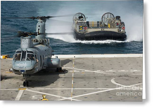 A Hovercraft Approaches Uss New Orleans Greeting Card