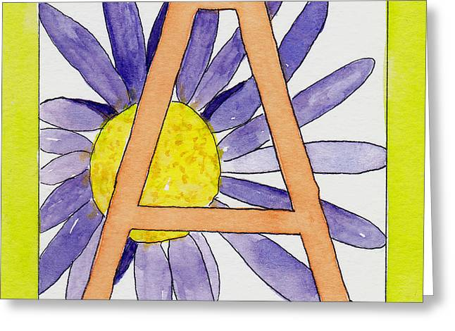 A Is For Aster Greeting Card by Lynne Furrer