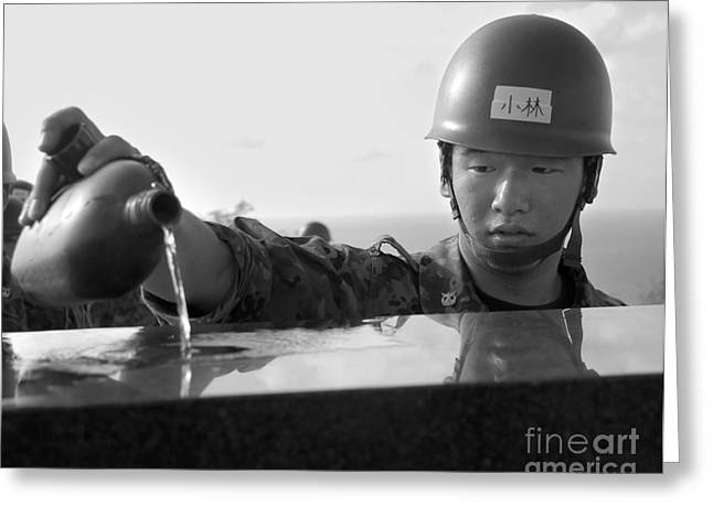 A Japanese Soldier Pours Water Greeting Card by Stocktrek Images