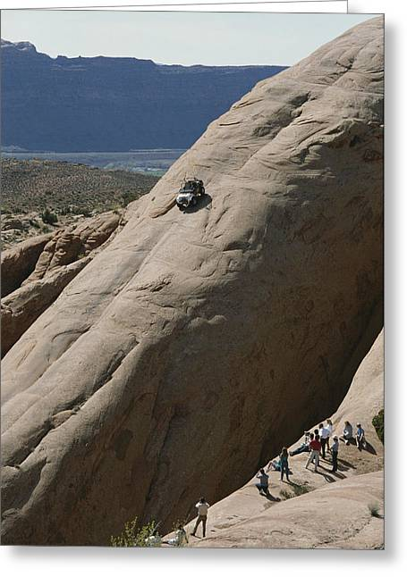 A Jeep Drives Down A Slick Rock Greeting Card by James P. Blair