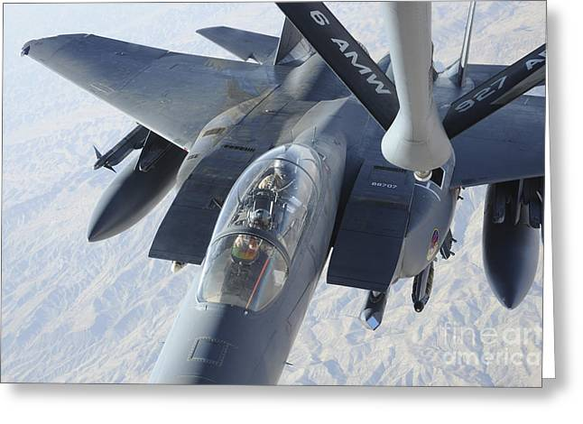 A Kc-135 Stratotanker Refuels An F-15e Greeting Card by Stocktrek Images