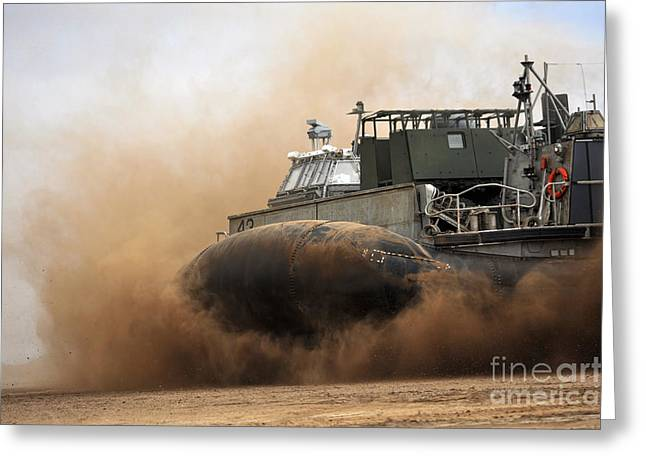 A Landing Craft Air Cushion Coming Greeting Card by Stocktrek Images