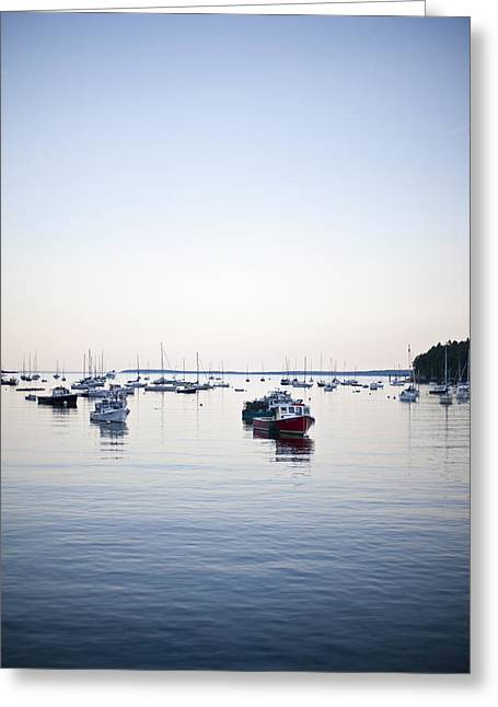 A Large Group Of Boats Float In A Maine Greeting Card by Hannele Lahti