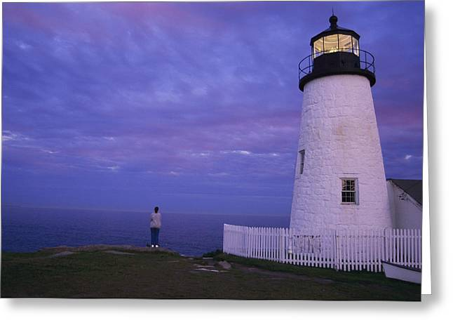 A Lighthouse Visitor Enjoys A Twilight Greeting Card by Stephen St. John