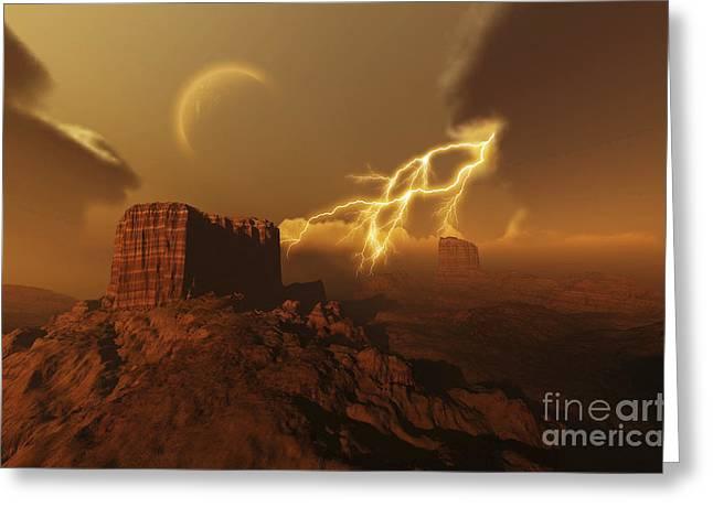 A Lightning Storm Over A Desert Lights Greeting Card