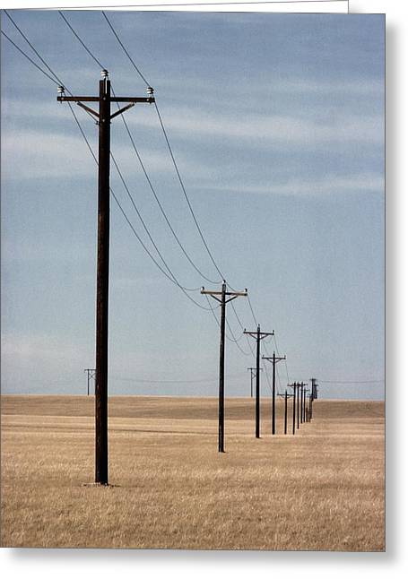A Line Of Telephone Poles Travels Greeting Card by George Grall