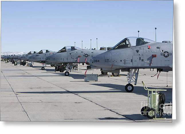 A Line Up Of A-10 Thunderbolt Aircraft Greeting Card by HIGH-G Productions