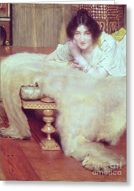 A Listener - The Bear Rug Greeting Card by Sir Lawrence Alma-Tadema